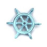 Handcrafted Nautical Decor Ship Wheel Decorative Paperweight; Dark Blue