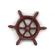 Handcrafted Nautical Decor Ship Wheel Decorative Paperweight; Red