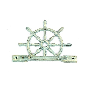 Handcrafted Nautical Decor Cast Iron Ship Wheel Wall Hook; Antique Bronze