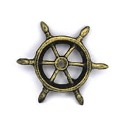Handcrafted Nautical Decor Ship Wheel Decorative Paperweight; Antique Gold