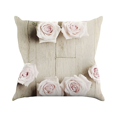 KESS InHouse Smile by Cristina Mitchell Wood Roses Throw Pillow; 16'' H x 16'' W x 1'' D