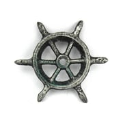 Handcrafted Nautical Decor Ship Wheel Decorative Paperweight; Antique Silver