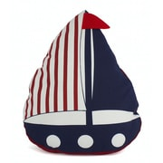 Handcrafted Nautical Decor American Sailboat Nautical Decorative Pillow; Red