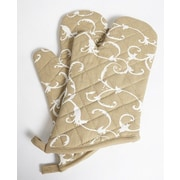 Flato Home Damask Oven Mitt (Set of 2); Taupe