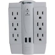 Steren STRN905120 6-Outlet Swivel Surge Protector with 2 USB Ports