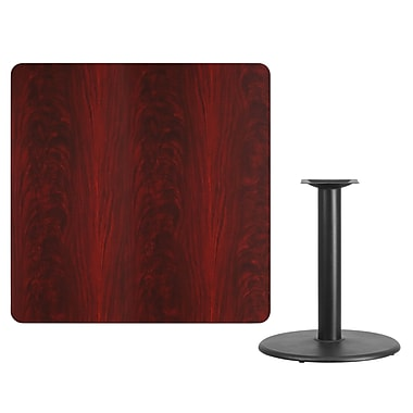 Flash Furniture 42'' Square Laminate Table Top, Mahogany with 24'' Round Table-Height Base (XUMA4242TR24)