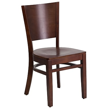 Flash Furniture Lacey Series Solid Back Restaurant Chair, Walnut Wood Frame Finish, (XUDGW094WAL)