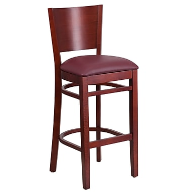 Flash Furniture Lacey Series Solid-Back Wood Restaurant Barstool, Mahogany with Burgundy Vinyl Seat (XUDGW094BMABGV)