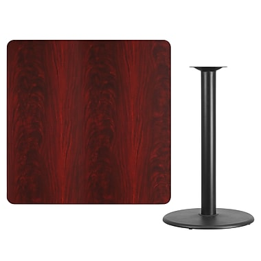Flash Furniture 42'' Square Laminate Table Top, Mahogany with 24'' Round Bar-Height Table Base (XUMA4242TR24B)