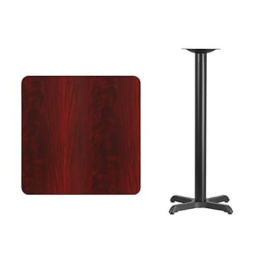 Flash Furniture 30'' Square Laminate Table Top, Mahogany with 22'' x 22'' Bar-Height Table Base (XUMA3030T2222B)