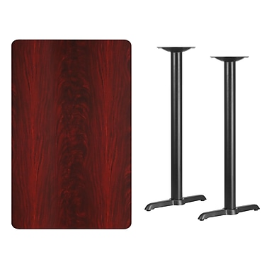 Flash Furniture 30'' x 48'' Rectangular Laminate Table Top, Mahogany with 5'' x 22'' Bar-Height Table Bases (XUMA3048T0522B)