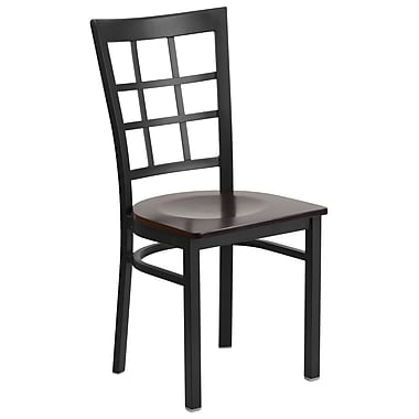 Flash Furniture Hercules Series Window-Back Metal Restaurant Chair, Black with Walnut Wood Seat (XUDG6Q3BWINWALW)