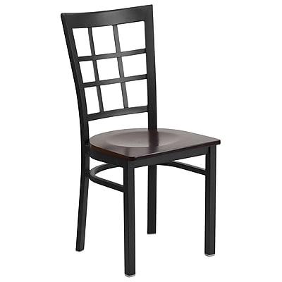 Flash Furniture Hercules Series Window-Back Metal Restaurant Chair, Black with Walnut Wood Seat (XUDG6Q3BWINWALW)