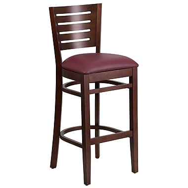 Flash Furniture Darby Series Slat-Back Wood Restaurant Barstool, Walnut with Burgundy Vinyl Seat (XUDGW018BWABGV)