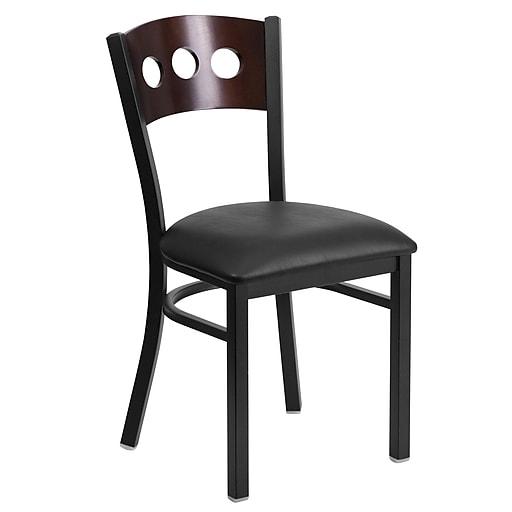 Flash Furniture  Hercules 3-Circle Back Metal Restaurant Chair, Black with Walnut Wood Back, Black Vinyl Seat (XUDG6Y2BWALBKV)