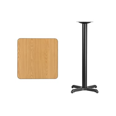Flash Furniture 24'' Square Laminate Table Top, Natural with 22'' x 22'' Bar-Height Table Base (XUNT2424T2222B)