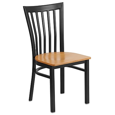 Flash Furniture  Hercules Series Schoolhouse-Back Metal Restaurant Chair, Black with Natural Wood Seat (XUDG6Q4BSCHNATW)