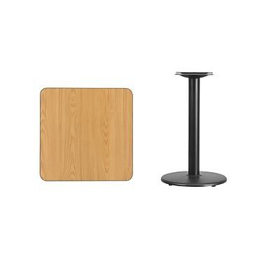 Flash Furniture – Table carrée en stratifié fini naturel de 24 po avec base circulaire de 18 po (XUNT2424TR18)