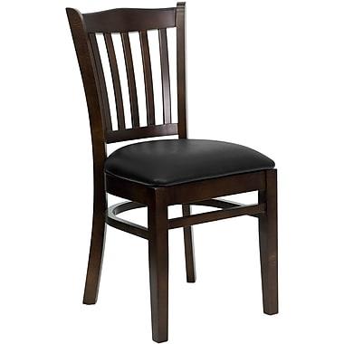 Flash Furniture – Chaise de restaurant en bois, à traverses verticales, noyer, siège en vinyle noir (XUDGW08VRTWABKV)