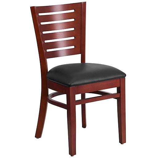 Flash Furniture Darby Series Slat Back Mahogany Wooden Restaurant Chair, Black Vinyl Seat
