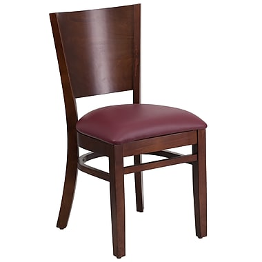 Flash Furniture Lacey Series Solid-Back Wood Restaurant Chair, Walnut with Burgundy Vinyl Seat (XUDGW094WALBGV)