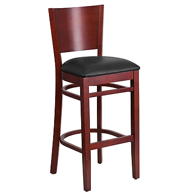 Flash Furniture Lacey Series Solid-Back Mahogany Wooden Restaurant Barstool, Black Vinyl Seat (XUDGW094BMABKV)