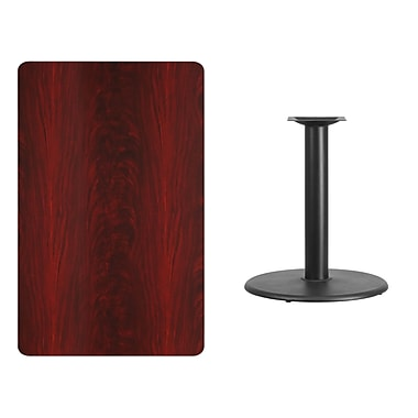 Flash Furniture 30'' x 48'' Rectangular Laminate Table Top, Mahogany with 24'' Round Table-Height Base (XUMA3048TR24)