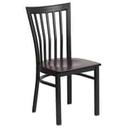 Flash Furniture  Hercules Series Schoolhouse-Back Metal Restaurant Chair, Black with Walnut Wood Seat (XUDG6Q4BSCHWALW)
