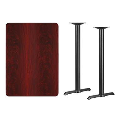 Flash Furniture 30'' x 42'' Rectangular Laminate Table Top, Mahogany with 5'' x 22'' Bar-Height Table Bases (XUMA3042T0522B)