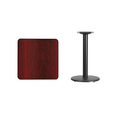 Flash Furniture 24'' Square Laminate Table Top, Mahogany with 18'' Round Table-Height Base (XUMA2424TR18)