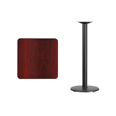 Flash Furniture 24'' Square Laminate Table Top, Mahogany with 18'' Round Bar-Height Table Base (XUMA2424TR18B)