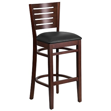 Flash Furniture Darby Series Slat-Back Wood Restaurant Barstool, Walnut with Black Vinyl Seat (XUDGW018BWABKV)
