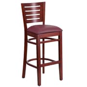 Flash Furniture Darby Series Slat-Back Wood Restaurant Barstool, Mahogany with Burgundy Vinyl Seat (XUDGW018BMABGV)