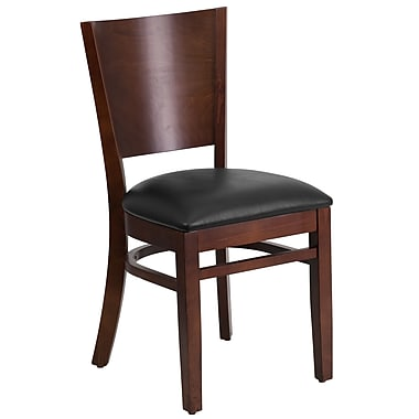 Flash Furniture Lacey Series Solid-Back Wood Restaurant Chair, Walnut with Black Vinyl Seat (XUDGW094WALBKV)