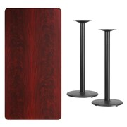 Flash Furniture 30'' x 60'' Rectangular Mahogany Laminate Table Top with 18'' Round Bar Height Table Bases (XUMA3060TR18B)