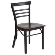 Flash Furniture  Hercules Series Ladderback Metal Restaurant Chair, Black with Walnut Wood Seat (XUDG6Q6B1LADWAW)