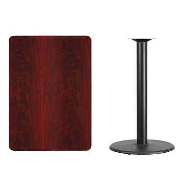 Flash Furniture 30'' x 42'' Rectangular Laminate Table Top, Mahogany with 24'' Round Bar Height Table Base (XUMA3042TR24B)