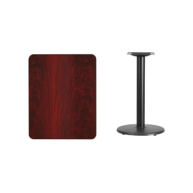 Flash Furniture 24'' x 30'' Rectangular Laminate Table Top, Mahogany with 18'' Round Table-Height Base (XUMA2430TR18)