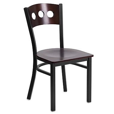 Flash Furniture Hercules Decorative 3-Circle Back Metal Restaurant Chair, Black with Walnut Wood Back and Seat (XUDG6Y2BWAL)