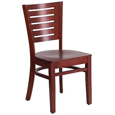 Flash Furniture Darby Series Slat Back Restaurant Chair, Mahogany Wood Frame Finish, (XUDGW018MAH)