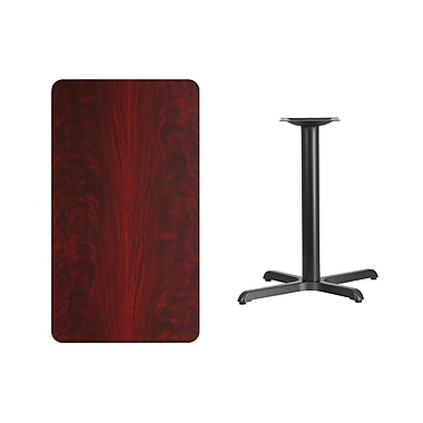 Flash Furniture 24'' x 42'' Rectangular Laminate Table Top, Mahogany with 22'' x 30'' Table-Height Base (XUMA2442T2230)