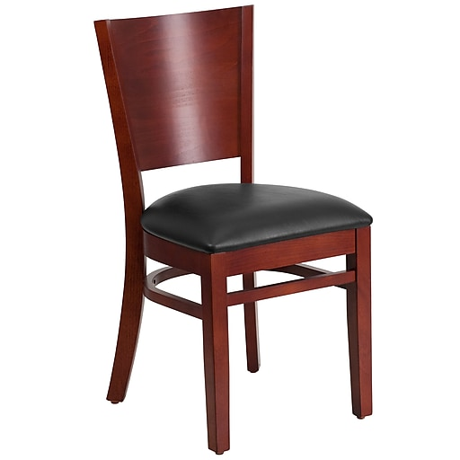 Flash Furniture Lacey Series Solid Back Restaurant Chair, Black Vinyl Seat, Mahogany Wood Frame Finish, (XUDGW094MAHBKV)