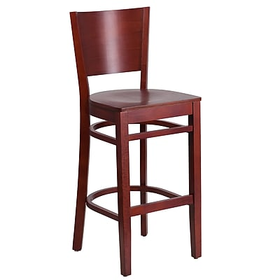 Flash Furniture Lacey Series Solid-Back Mahogany Wood Restaurant Barstool (XUDGW094BMA)