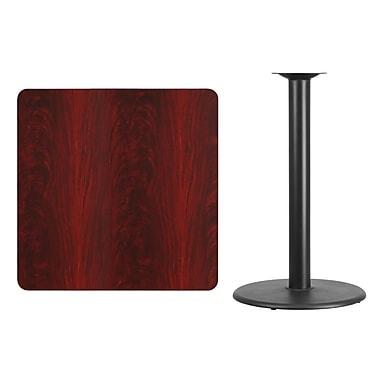 Flash Furniture – Table carrée en stratifié acajou de 36 po avec base circulaire de 24 po, hauteur 42 po (XUMA3636TR24B)