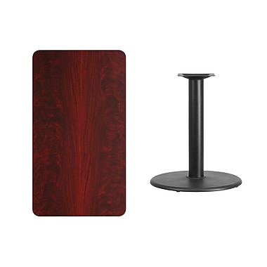 Flash Furniture 24'' x 42'' Rectangular Laminate Table Top, Mahogany with 24'' Round Table-Height Base (XUMA2442TR24)
