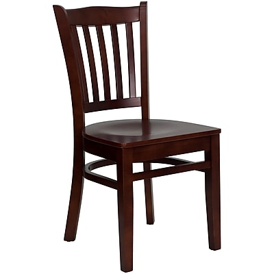 Flash Furniture Hercules Series Mahogany Finished Vertical Slat Back Wooden Restaurant Chair (XUDGW0008VRTMAH)