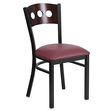 Flash Furniture Hercules Black 3-Circle-Back Metal Restaurant Chair, Walnut Back, Burgundy Vinyl Seat (XUDG6Y2BWALBGV)