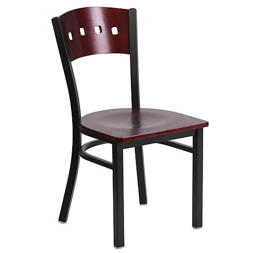 Flash Furniture  Hercules Black Metal Restaurant Chair, Decorative 4-Square Back, Mahogany Wood Back/Seat (XUDG6Y1BMAH)
