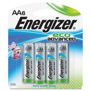Energizer EcoAdvanced AA Batteries, AA, Alkaline, 6 Pack