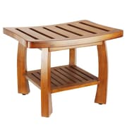 Oceanstar Solid Wood Spa Shower Bench with Storage Shelf, Teak